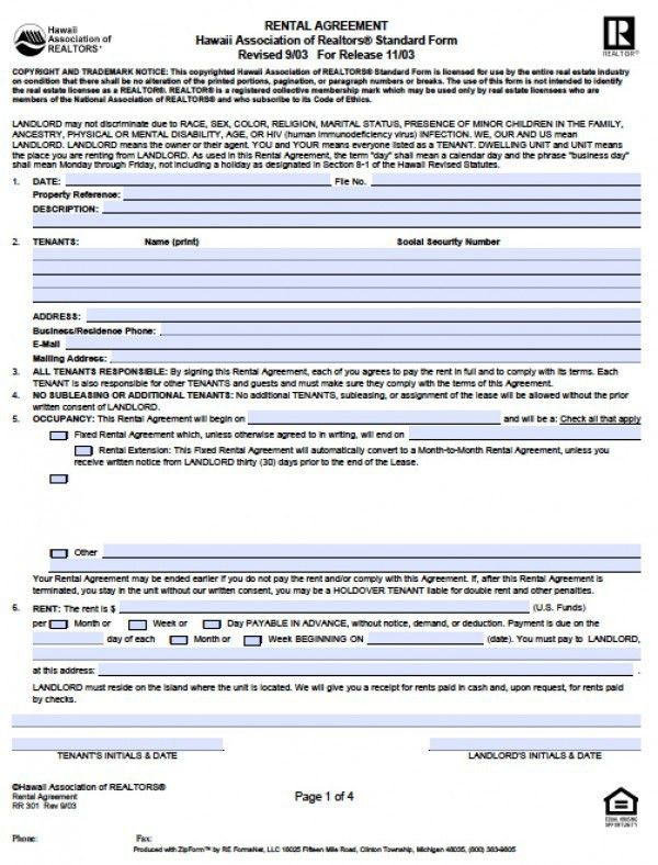 Free Hawaii Residential Lease Agreement | PDF | Word (.doc)