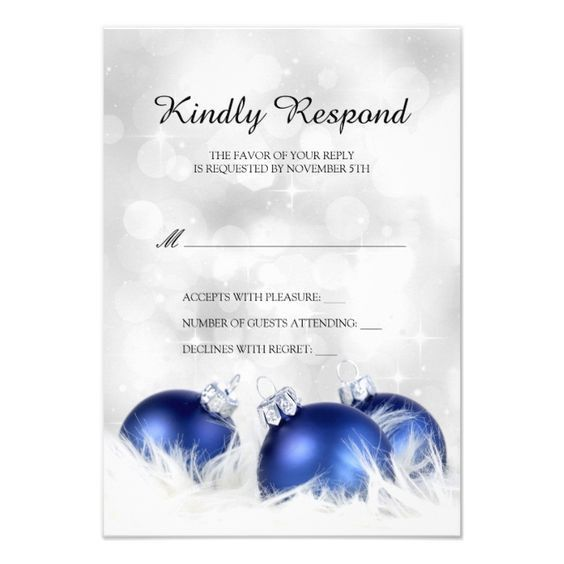 Christmas And Holiday Party RSVP Template 3.5x5 Paper Invitation ...