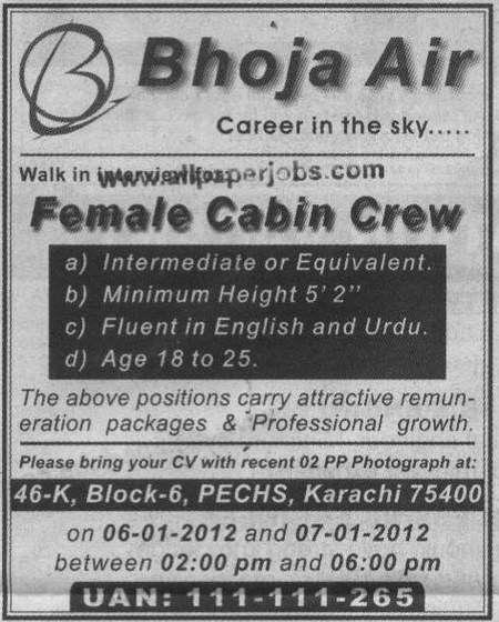 Bhoja Airlines Jobs, Air hostess, Female Cabin Crew