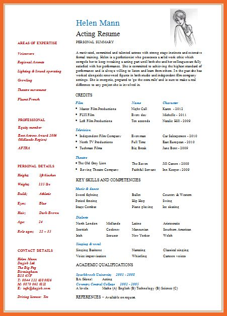 actor resume template free
