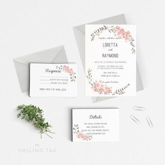 Printable Wedding Invitation Template - Floral Wedding Editable ...