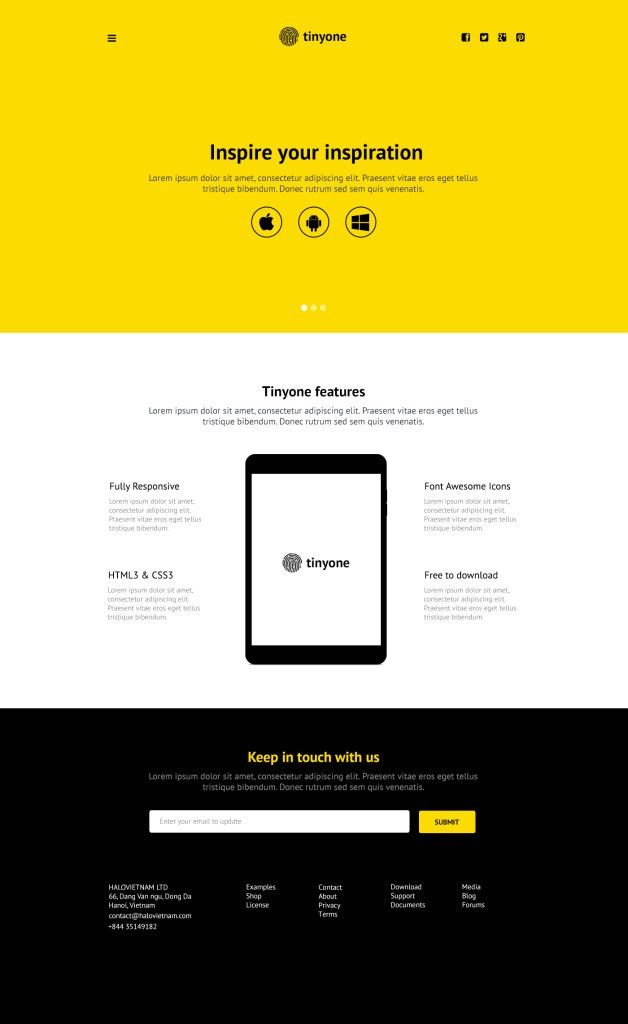 Tinyone - PSD One Page Template | Freebies