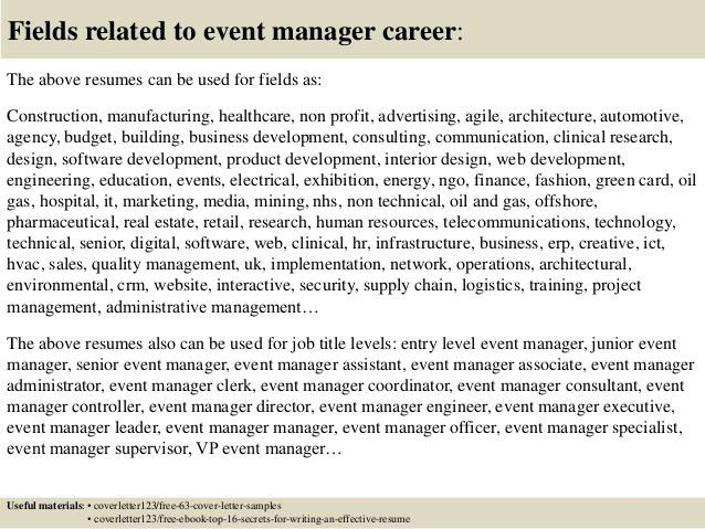 Top 5 event manager cover letter samples