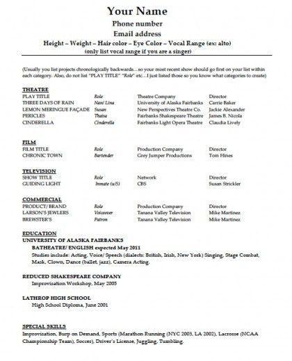Download Acting Résumé Template | PDF | Word wikiDownload
