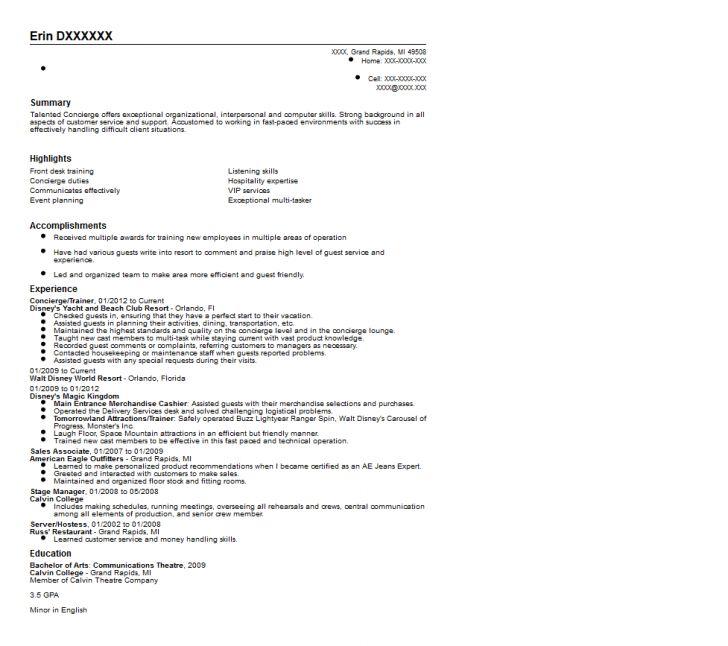 Residential Concierge Resume Sample   Inspiredshares.com