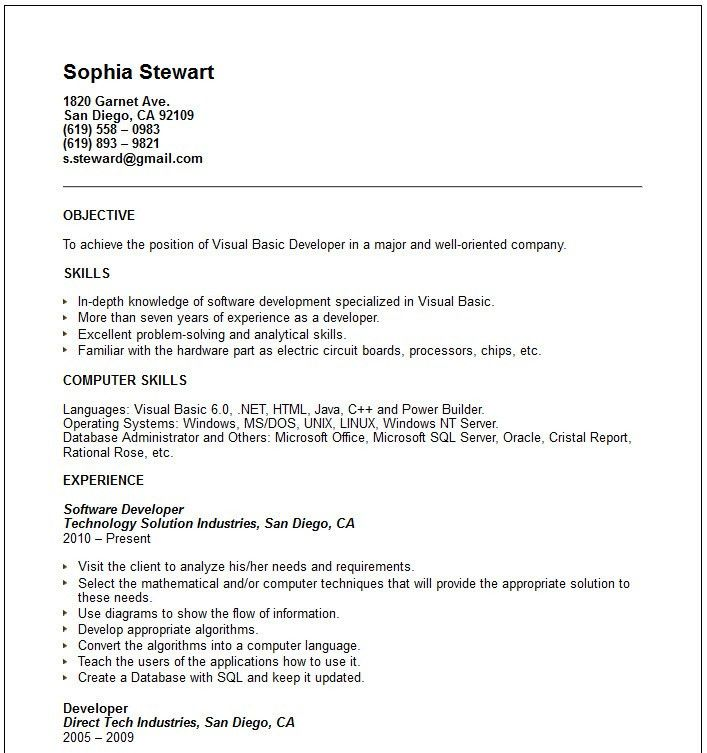sample resume simple resume cv cover letter. new job resume format ...