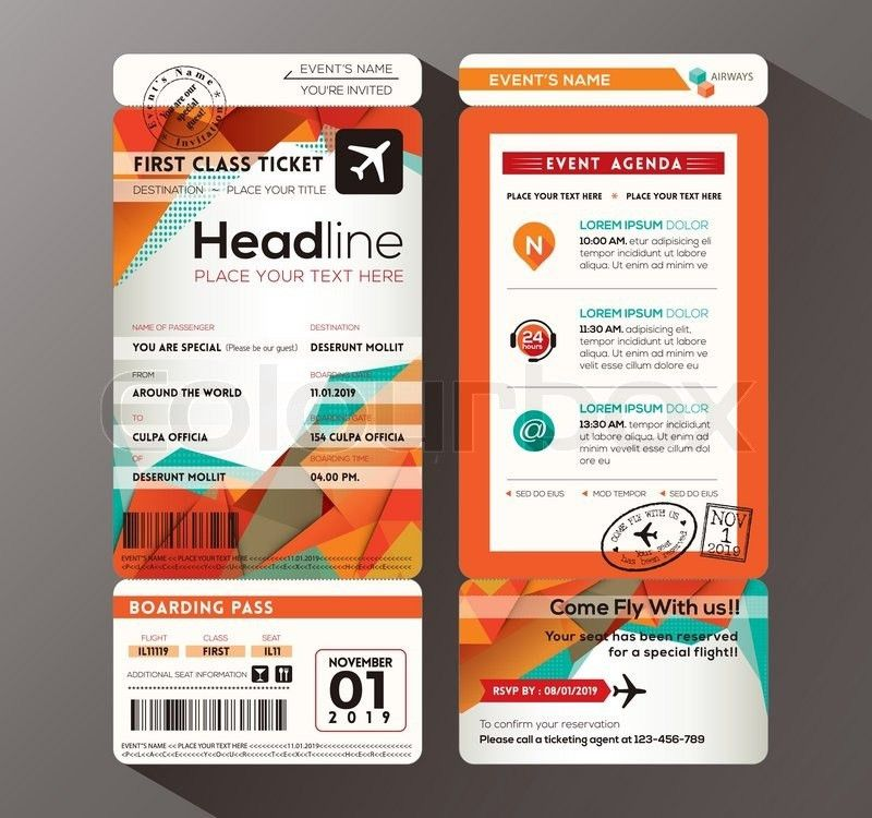 Modern design Boarding Pass Ticket Event Invitation card vector ...