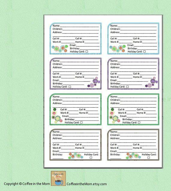 Address Book Contact List PDF Printable Digital Download