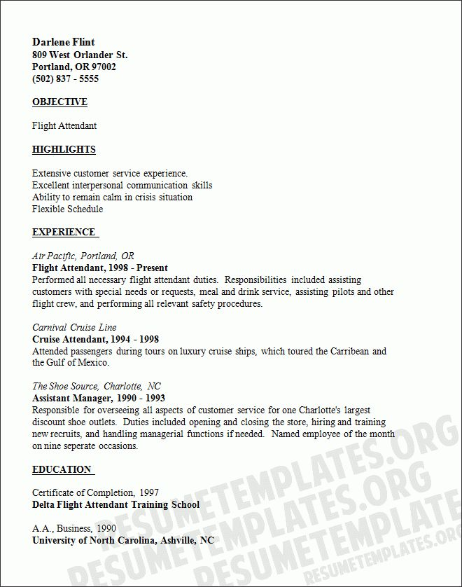 15+ flight attendant cv no experience - Basic Job Appication Letter