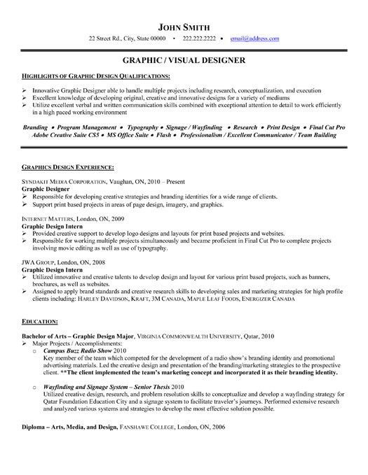Sample Graphic Designer Resume Template | Sainde.org