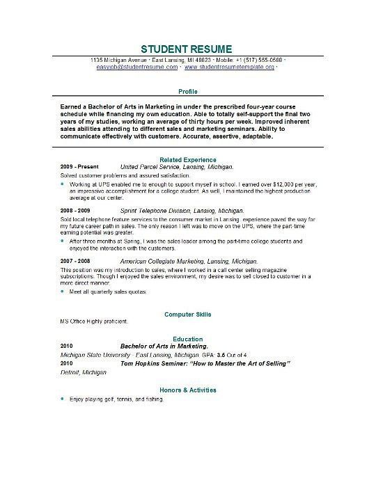 example of good resumes for college students. resume template for ...