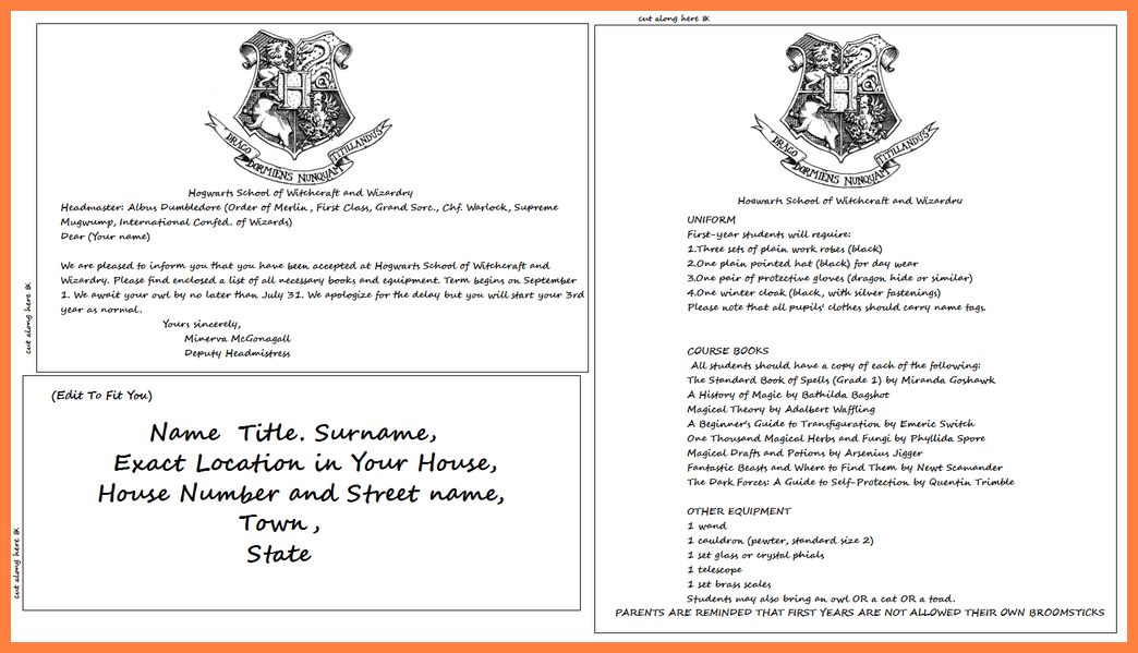 2+ hogwarts acceptance letter template | Bussines Proposal 2017