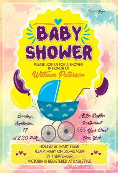 Baby Shower Party Flyer Template - Download Free Flyer Templates