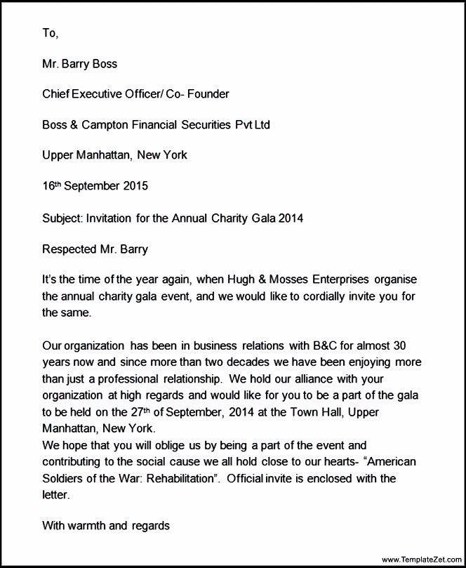 Business Invitation Formal Letter Format | TemplateZet