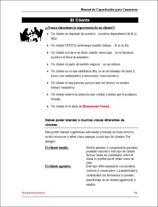 Restaurant Training Manual Templates - Spanish Edition