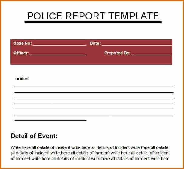 Crime Report Template. Free Police Officer Resume Templates - Http ...