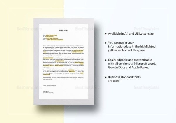 14+ Professional Memo Templates – Free Sample, Example, Format ...