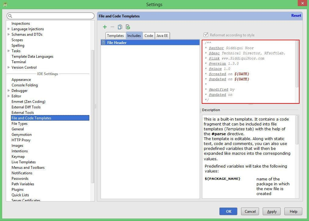 java - How to customize the JavaDoc template for method in Android ...