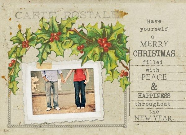 Free Vintage Holiday Card Template