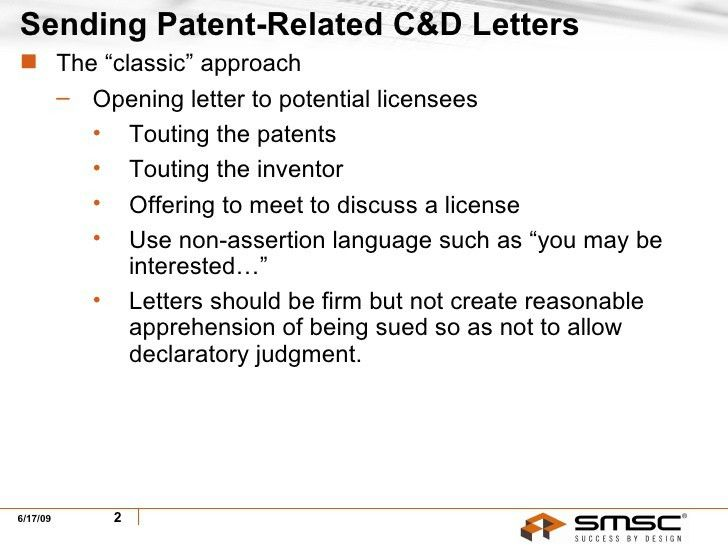 Sending & Receiving Patent-Related Cease & Desist Letters