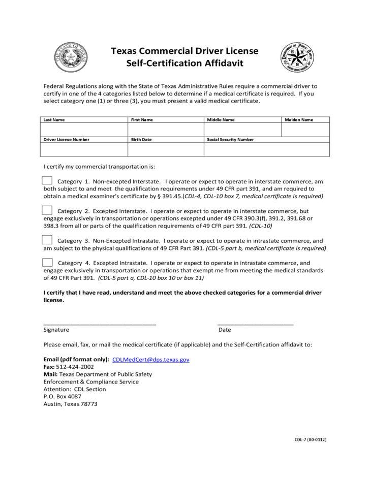Commercial Driver License Self-Certification Affidavit - Texas ...