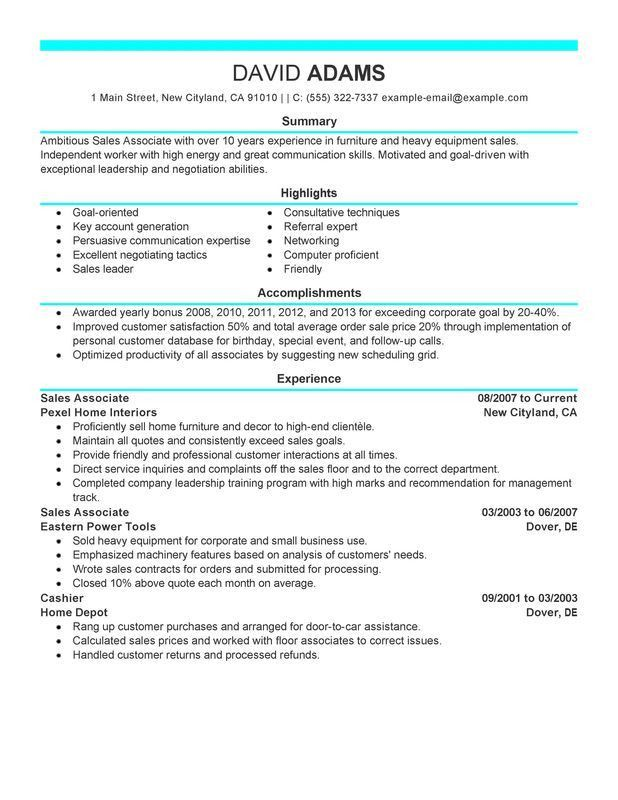 Best Ideas of Sample Resume Of Sales Associate For Letter ...