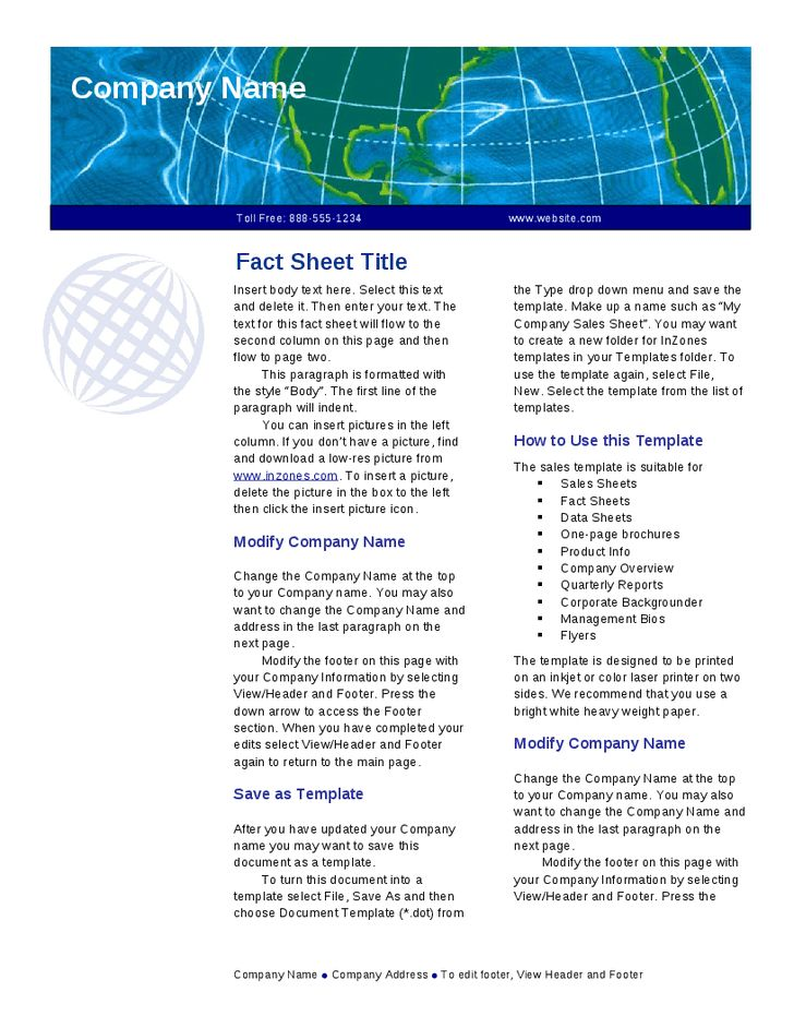 Fact Sheet Template - Hashdoc