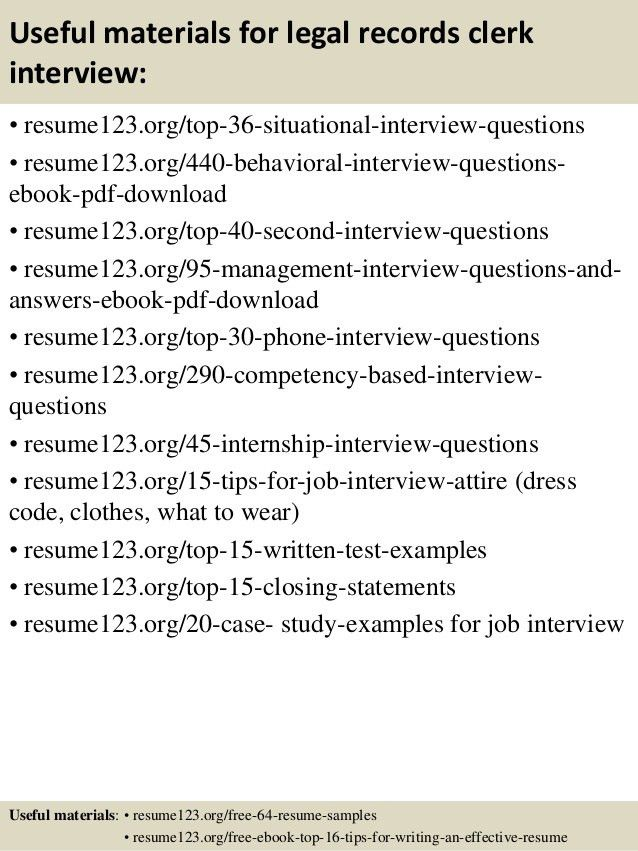 Top 8 legal records clerk resume samples