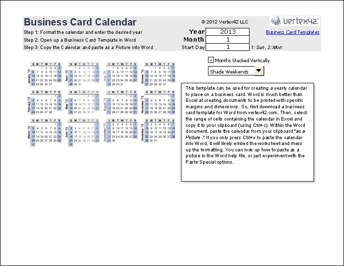 Print a Yearly Calendar on a Business Card