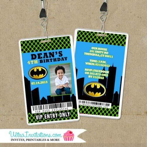 Batman VIP Pass Backstage Pass Invitations, Lanyard Invites