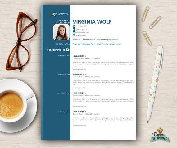 European CV Format Curriculum Modern Resume Template Word