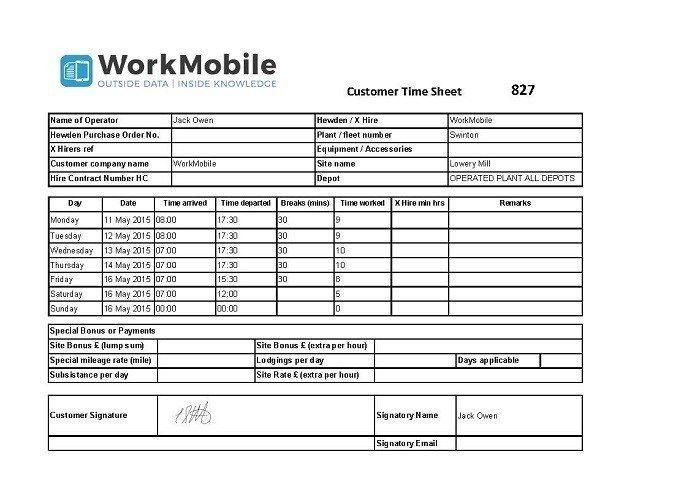 Customer Time Sheet Template