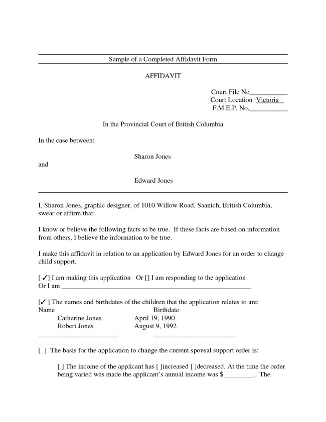 Free Printable Affidavit Form Template Sample with Blank Filled ...