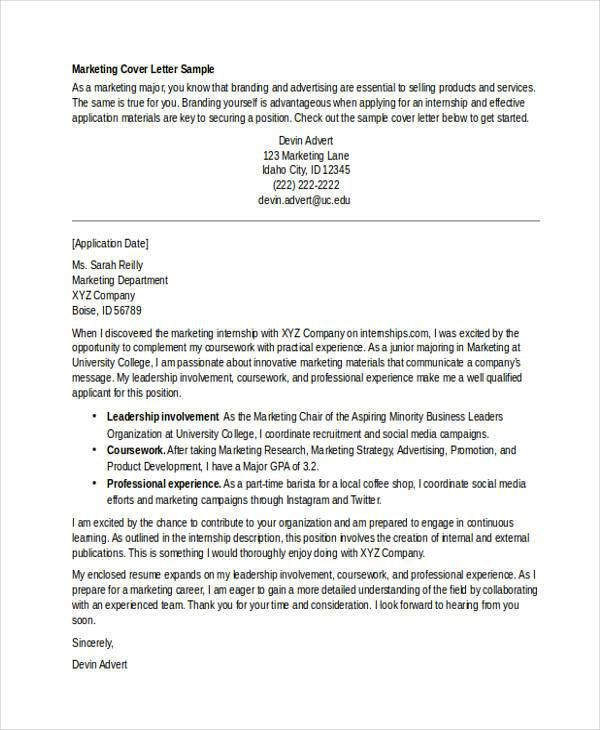 Internship Cover Letter - 10+ Free Word, PDF Format Download ...