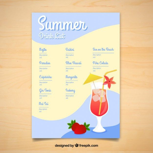 Summer delicious drinks menu template Vector | Free Download