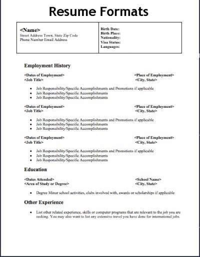 Types Of Resume 4 Types Of Resumes Samples Inspiration Decoration ...