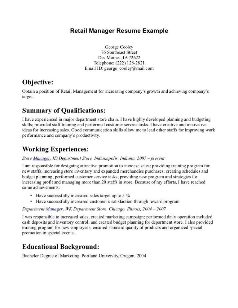 Retail Clerk Objective. resume objective for retail resume example ...
