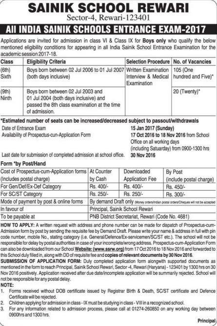 Sainik School Rewari (SSRW) Admission Form, Entrance Exam 2017