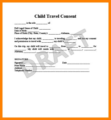 10+ legal consent form for travel with child | ledger paper