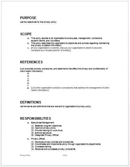 Privacy Policy Example | Microsoft Word Templates