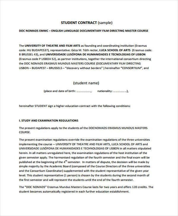 9+ Student Contract Templates - Free Sample, Example Format ...