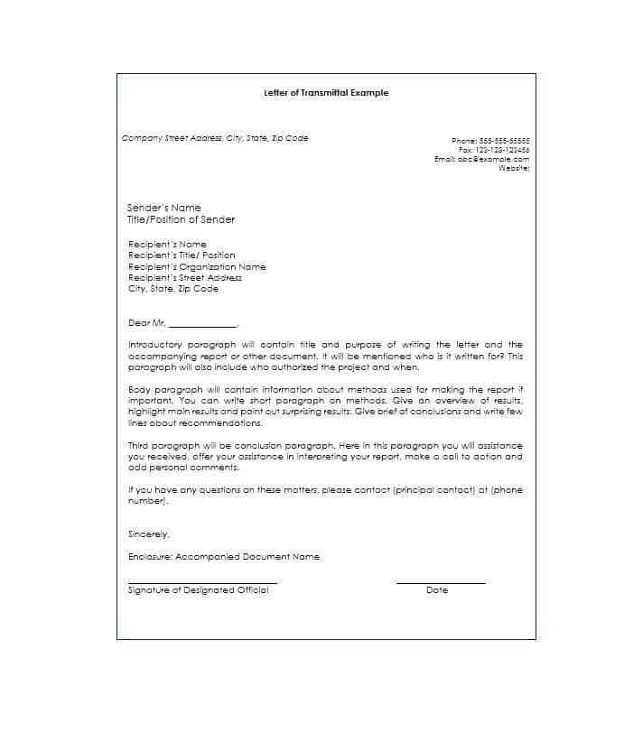 Letter of Transmittal - 40+ Great Examples & Templates - Template Lab