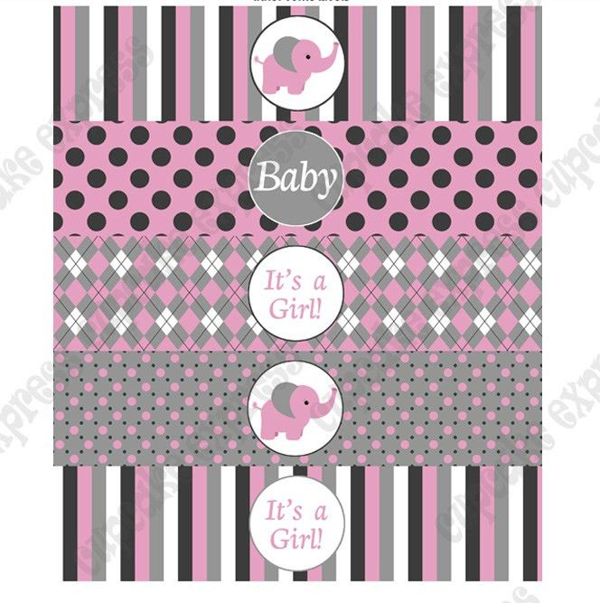PURCHASED BABY GIRL ELEPHANT PRINTABLE WATER BOTTLE LABELS | Baby ...