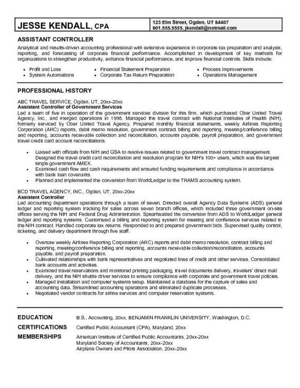 Impressive Assistant Controller Resume Example with Professional ...