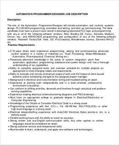 Senior Programmer Job Description. Its A Programmer And Systems ...