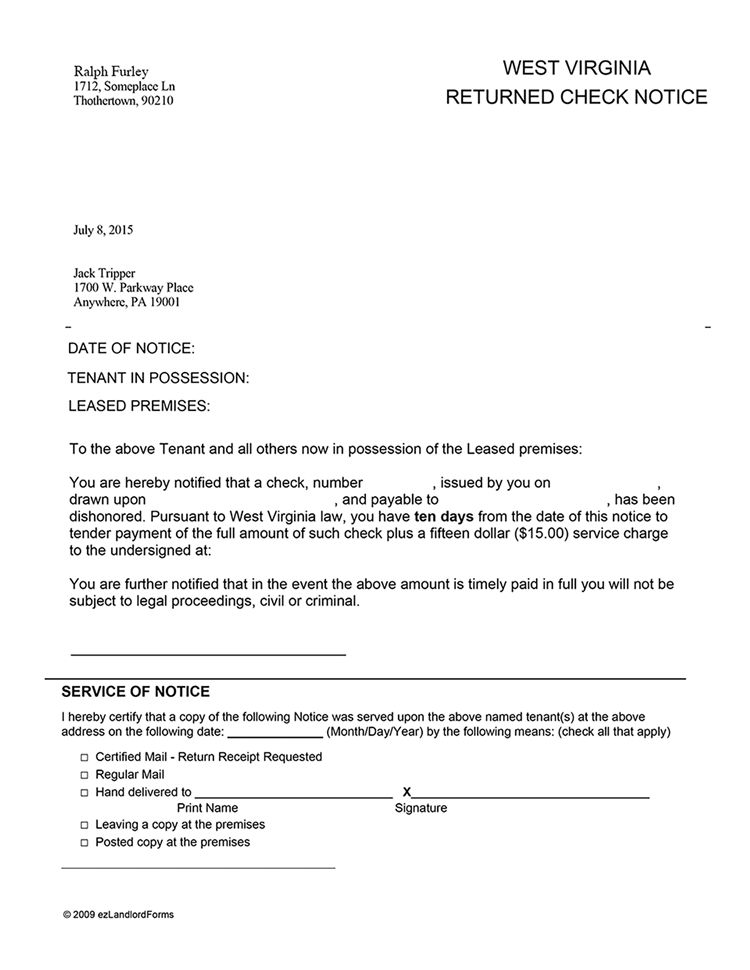 West Virginia Returned Check Notice | EZ Landlord Forms
