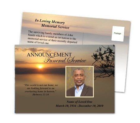 Funeral Announcements : Kenya Funeral Announcement Postcard Template