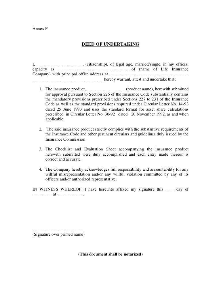 Deed of undertaking pros & carlos