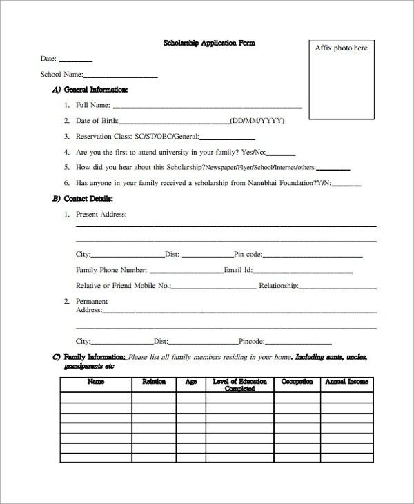 Sample Scholarship Form - 8+ Documents in PDF, Word