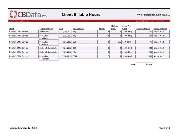 Invoice Template Billable Hours | Design Invoice Template